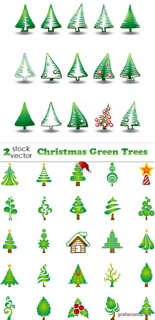 Vectors - Christmas Green Trees