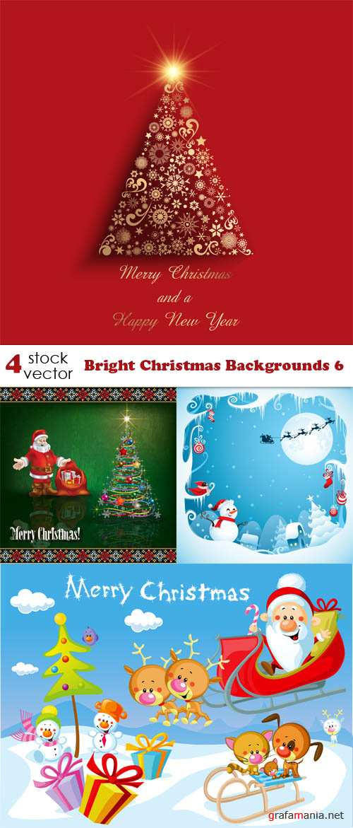 Vectors - Bright Christmas Backgrounds 6