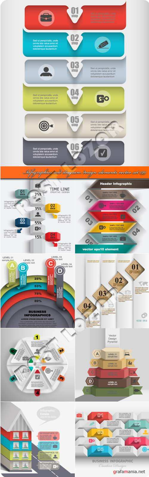 Инфографики и диаграммы 199 | Infographics and diagram design elements vector set 199