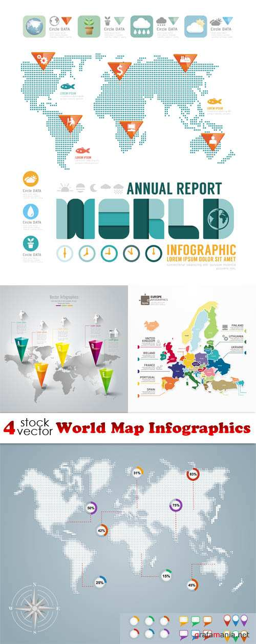 Vectors - World Map Infographics