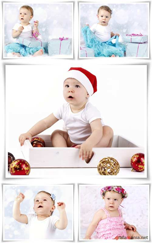 Little baby girl with christmas presents - Stock photo