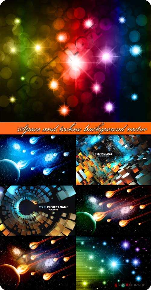 Space and techno background vector