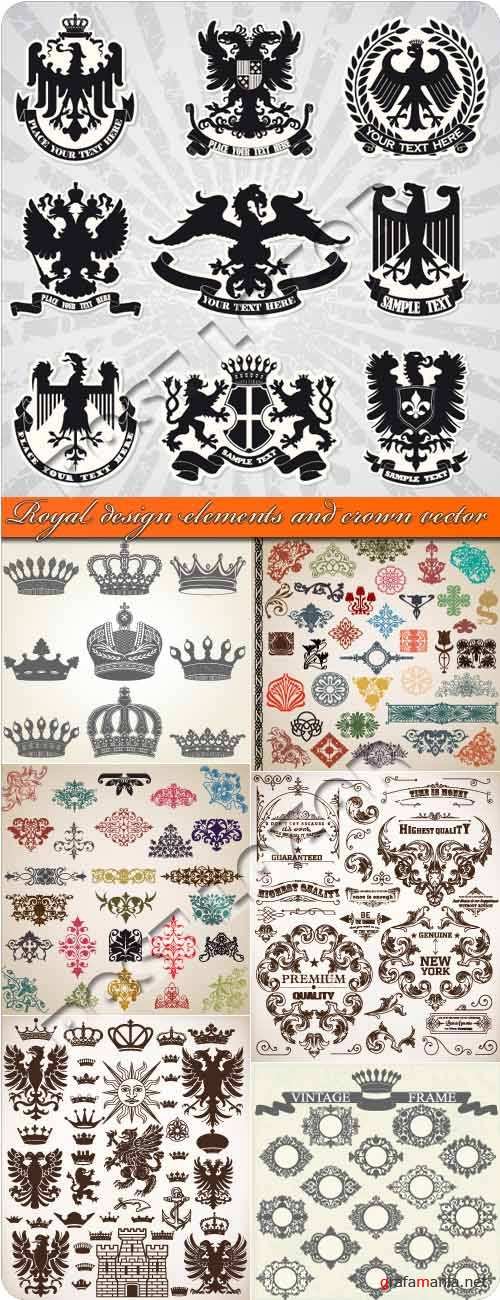 Royal design elements and crown vector