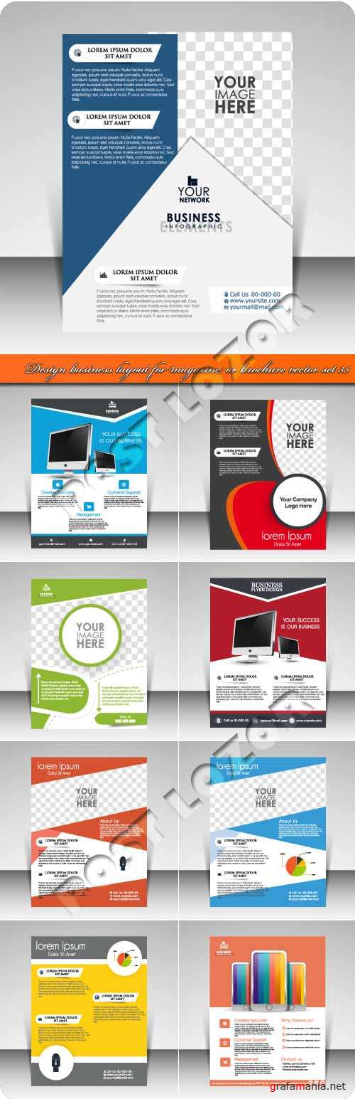 Design business layout for magazine or brochure vector set 35
