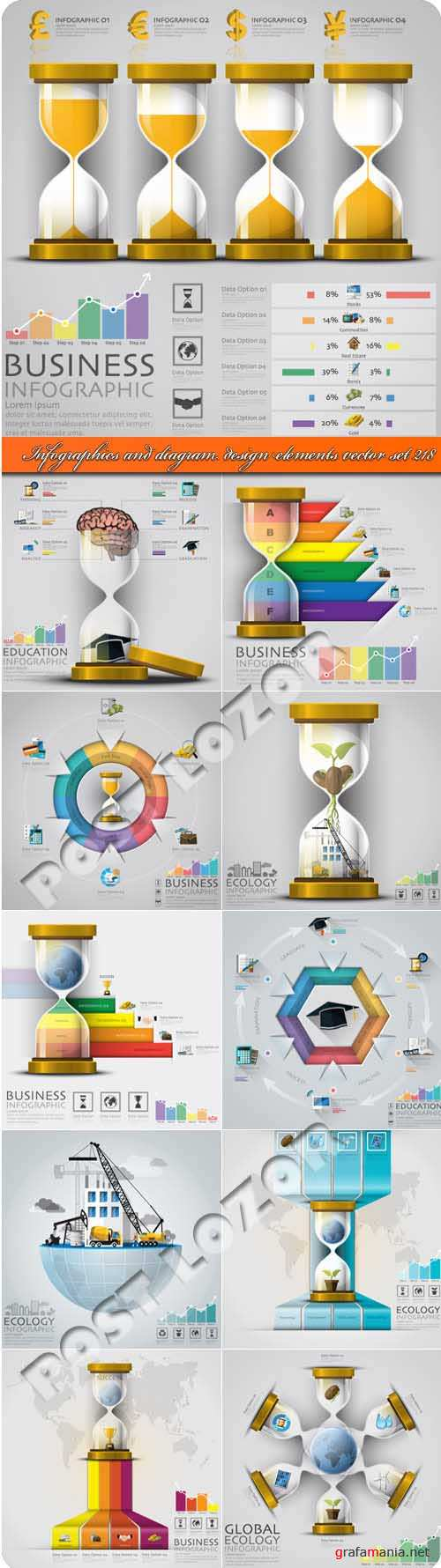 Infographics and diagram design elements vector set 218
