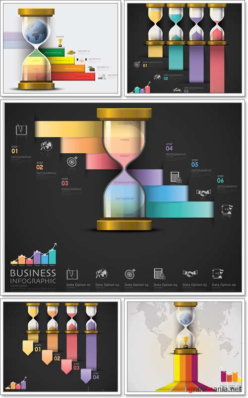 Sandglass, Money And Financial, Staircase Step To Success Business Infographic - Vector