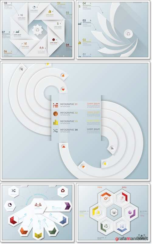 Modern Business Infographic Propeller Origami Style Design, Infinity Modern Curve Circle - Vector