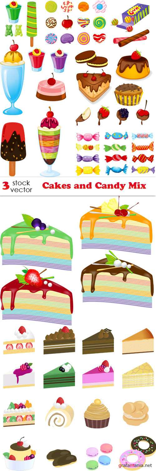 Vectors - Cakes and Candy Mix