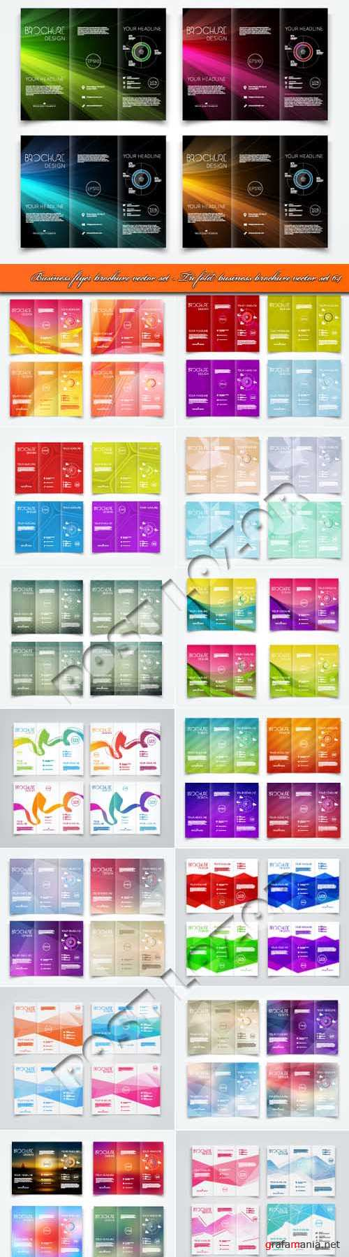 Business flyer brochure vector set - Tri fold business brochure vector set 64