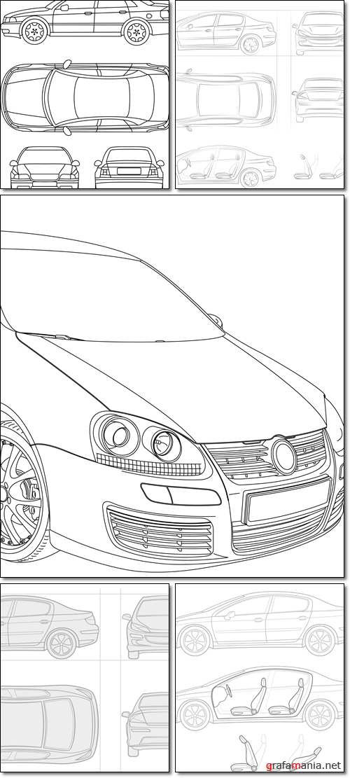 Car - top, leftside, front and back - Vector