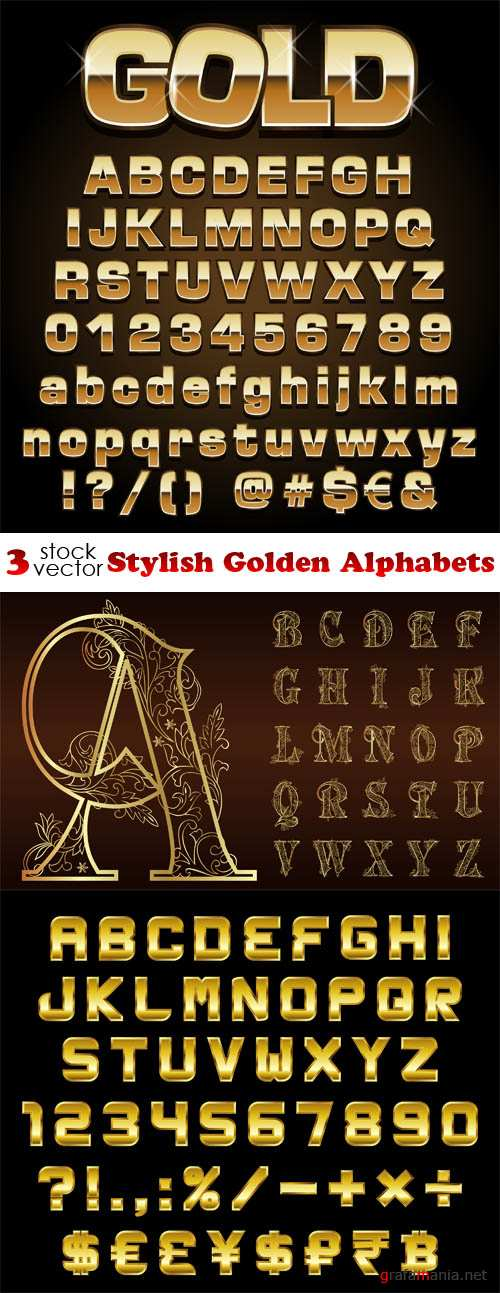 Vectors - Stylish Golden Alphabets