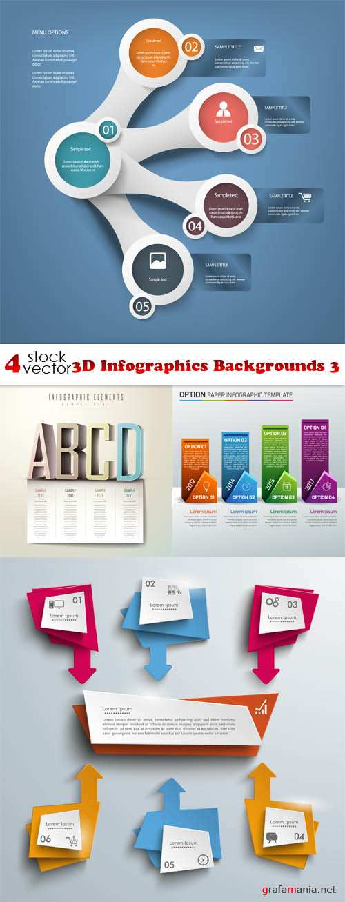 Vectors - 3D Infographics Backgrounds 3