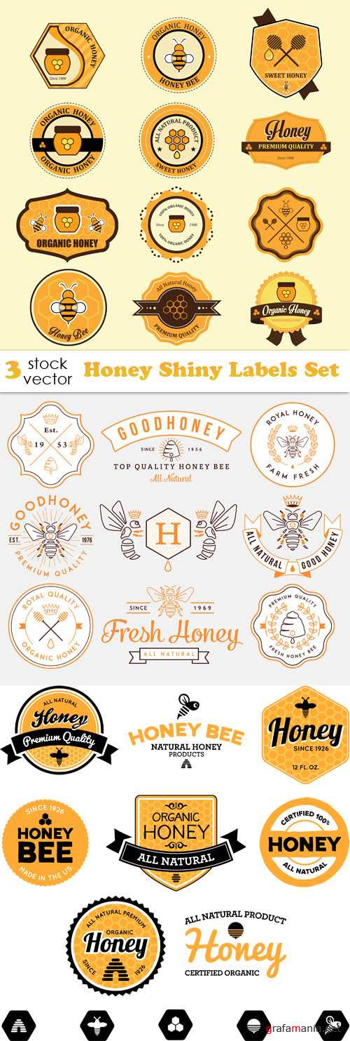 Vectors - Honey Shiny Labels Set