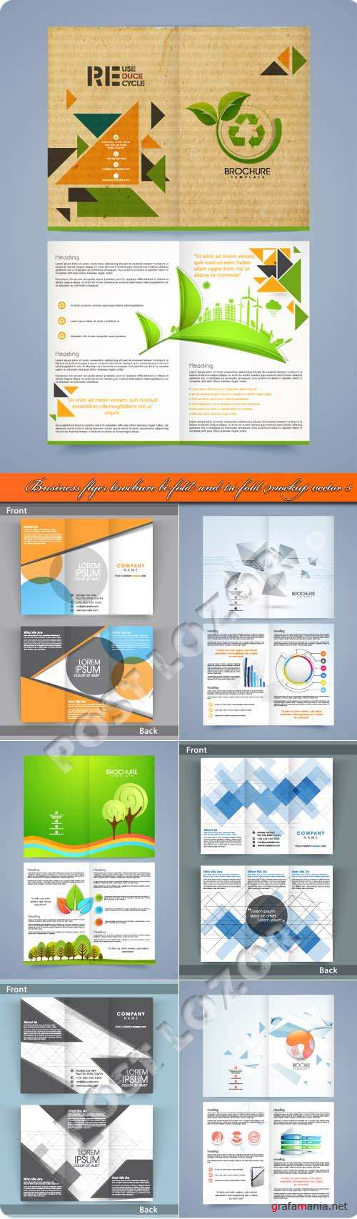 Business flyer brochure bi-fold and tri-fold mockup vector 5