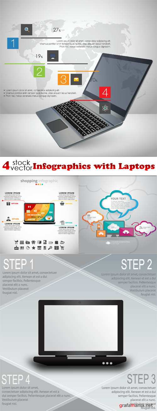 Vectors - Infographics with Laptops