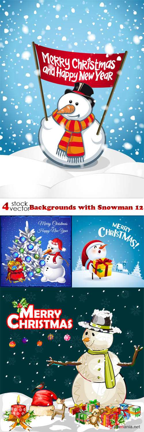 Vectors - Backgrounds with Snowman 12