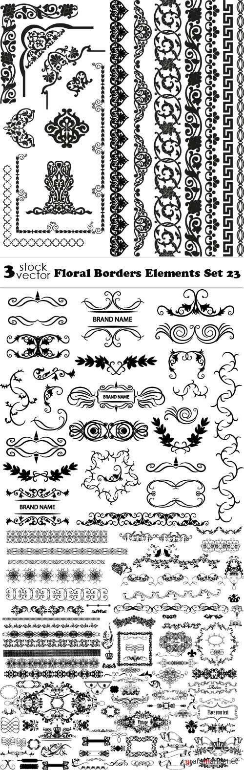 Vectors - Floral Borders Elements Set 23