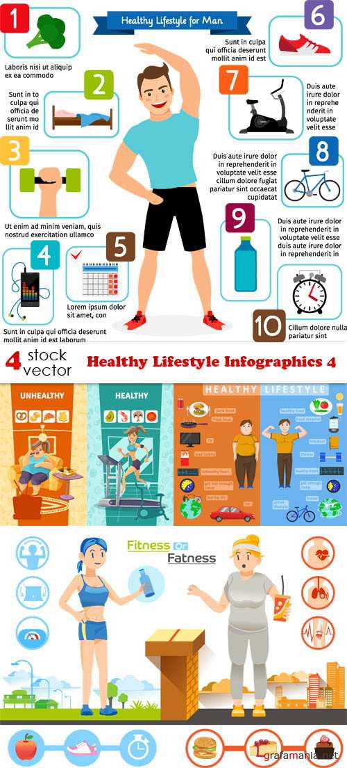 Vectors - Healthy Lifestyle Infographics 4