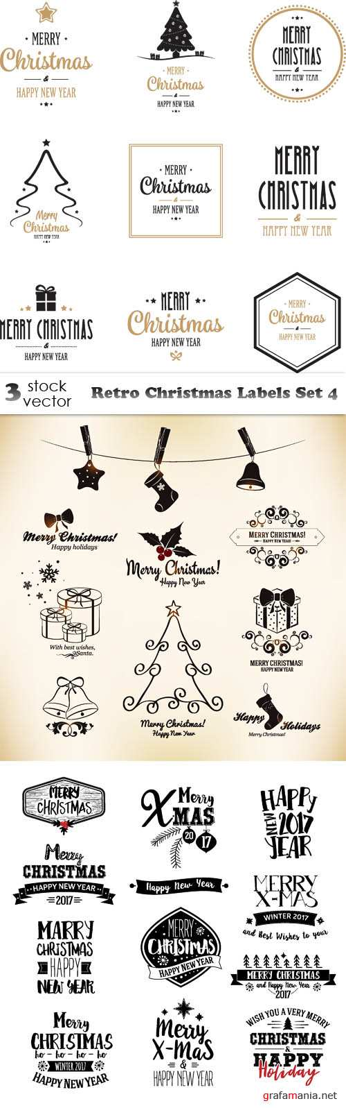 Vectors - Retro Christmas Labels Set 4