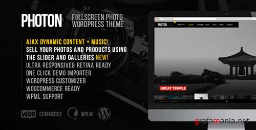 ThemeForest - Photon v1.3.0 - Fullscreen Photography WordPress Theme - 11543656