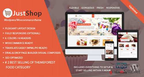 ThemeForest - Cake Bakery WordPress Theme - Justshop v7.6 - 4747148