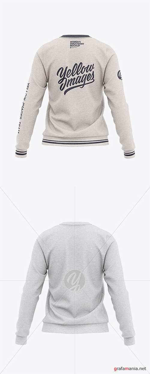 Women's Heather Crew Neck Sweatshirt - Back View 33554
