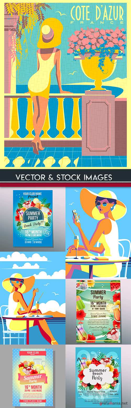 Summer beach party holiday colorful poster