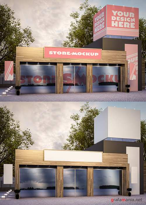 Store Signage and Outdoor Advertising Mockup 250706632 PSDT