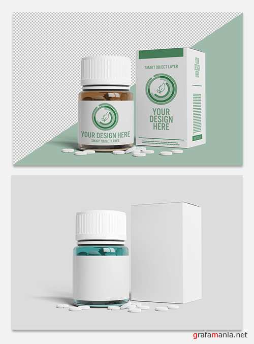 Pill Bottle and Box Packaging Mockup 247665000 PSDT