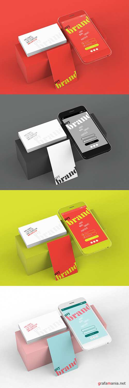 Smartphone Mockup with Vertical and Horizontal Business Cards 282334777 PSDT