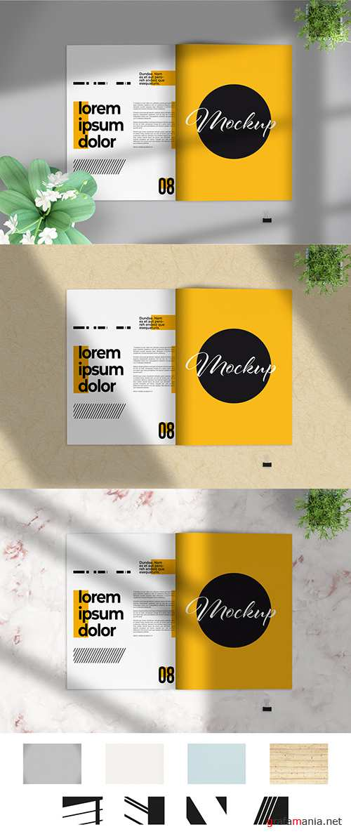 Open Brochure with Two Pages and Shadows Mockup 282711179 PSDT