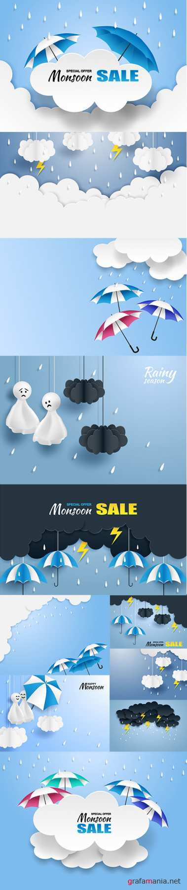 Monsoon Rainy Season Sale Banner Vector Set