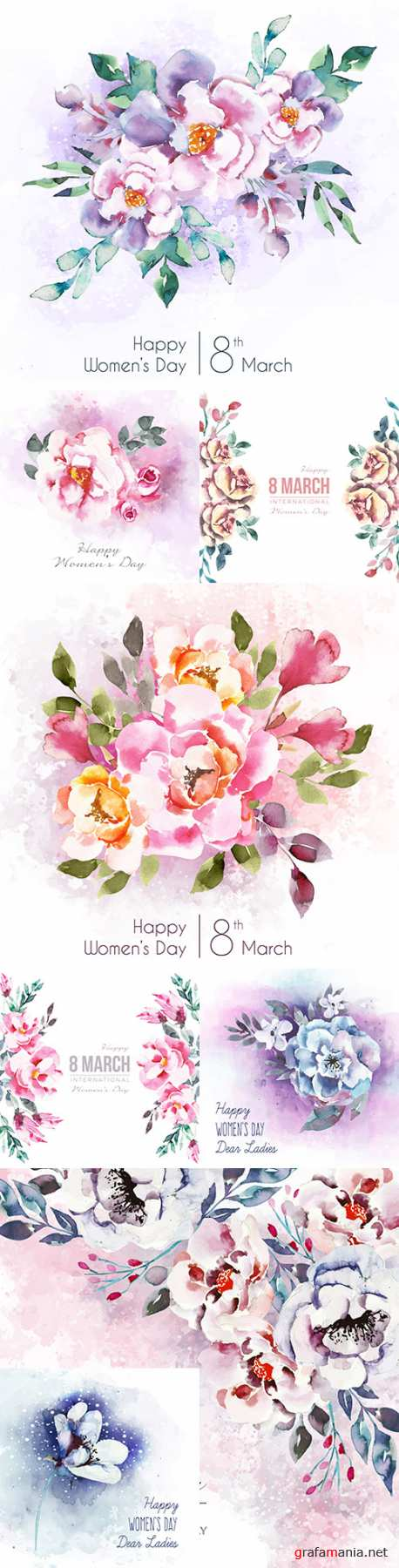 Women 's Day inscription with beautiful watercolour flowers
