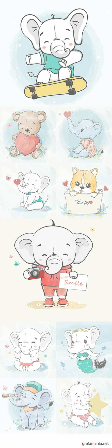Cute elephant and friends cartoon watercolor