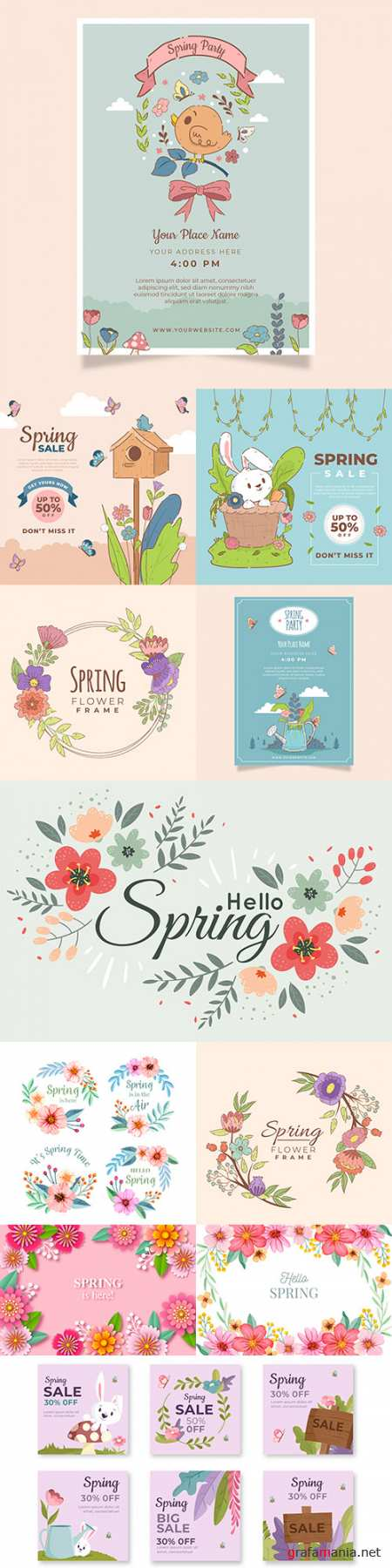 Hello spring floral decorative painted background 2