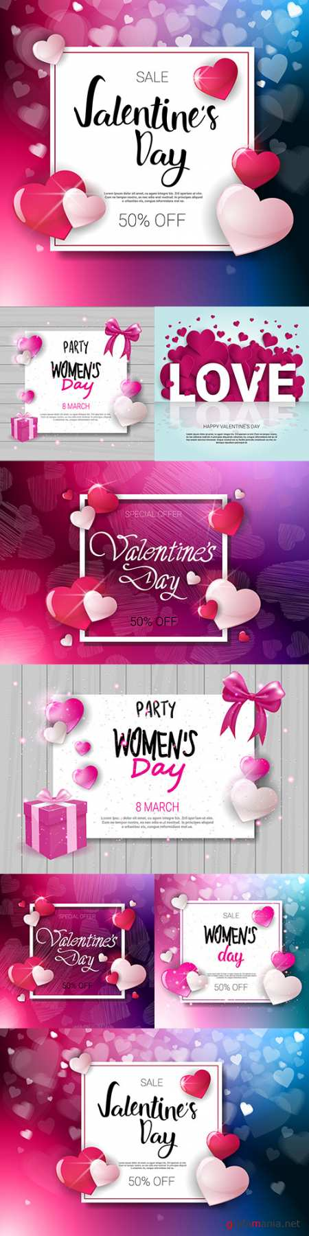Valentine and Women's Day celebration design banner