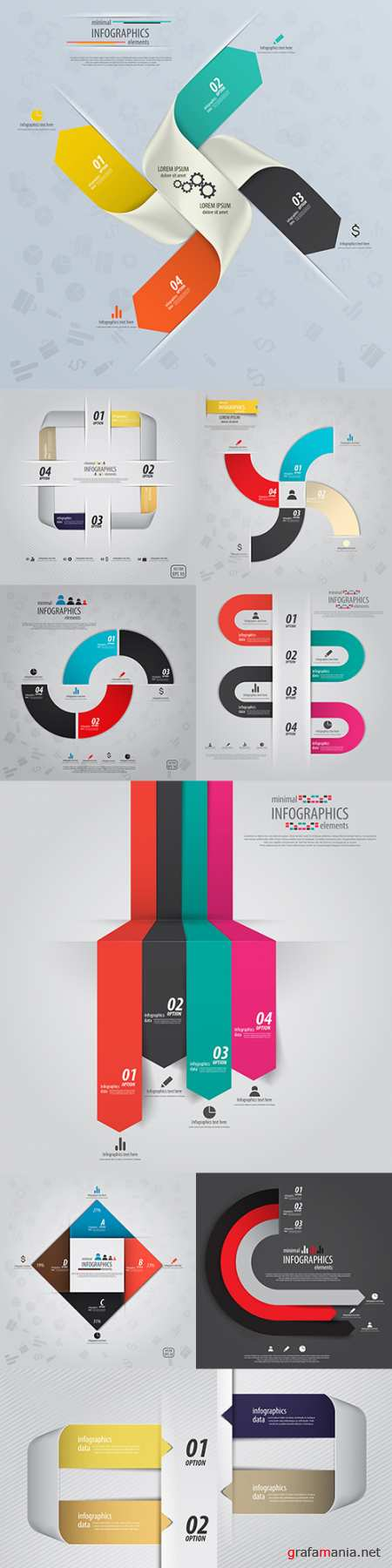 Business infographics options elements collection 130