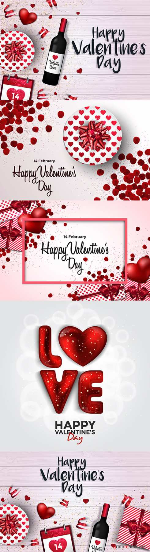 Happy Valentine's Day romantic vintage illustrations 46
