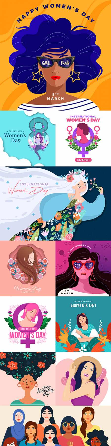 March 8 and Women's Day illustration flat design 10