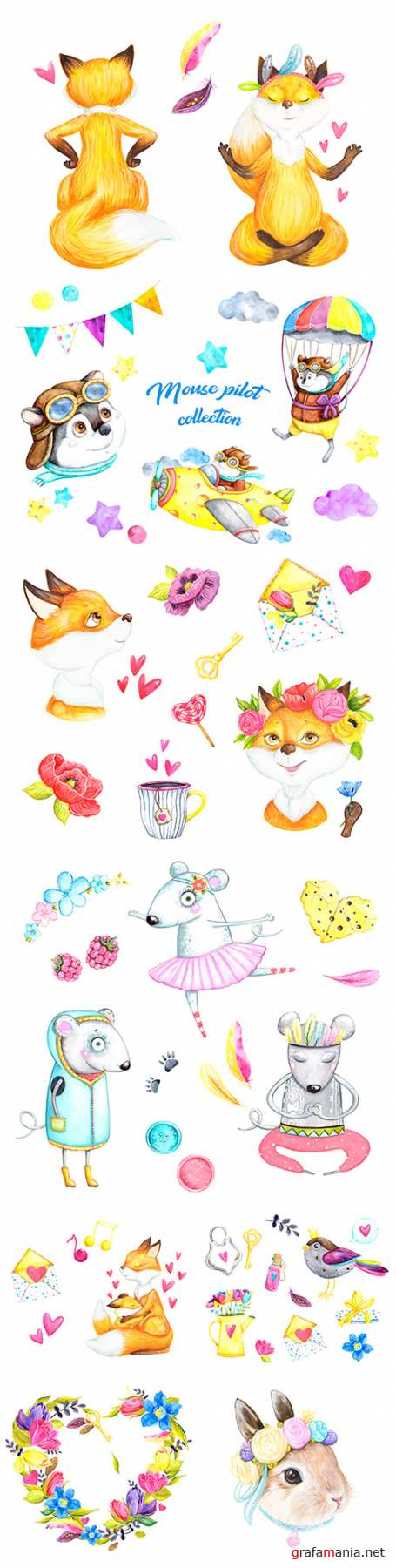 Fox and decorative flowers cartoon watercolor