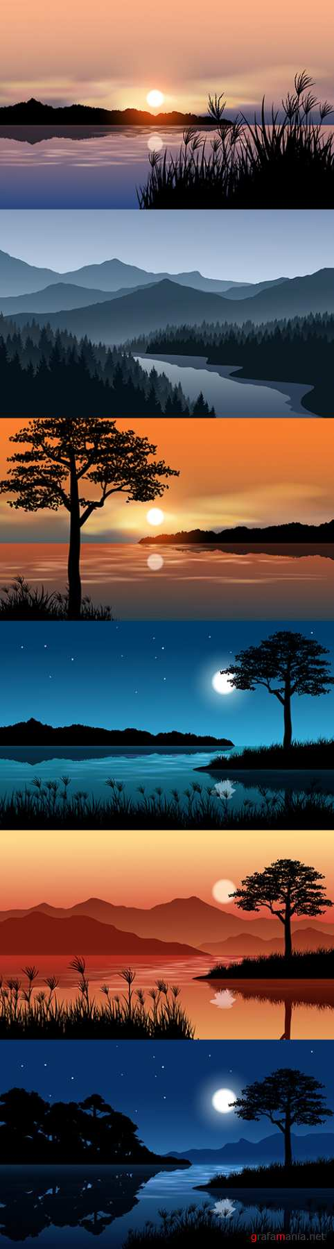 Night landscape at river and sunset illustration