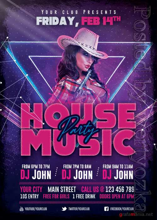 House Music Party - Premium flyer psd template