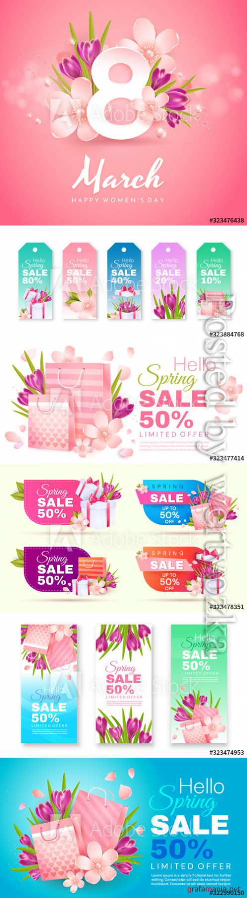 Greeting card for Women's Day, spring sale banners