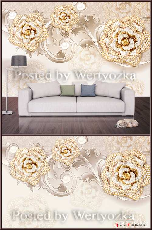 3D psd background wall roses with diamonds