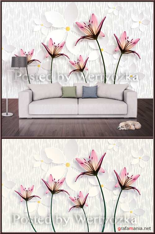 3D psd background wall pink lilies on a light