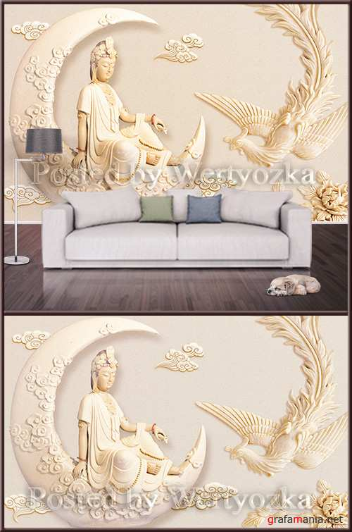 3D psd background wall goddess and phoenix