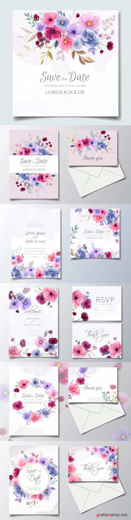 Floral wedding invitations colorful design painted