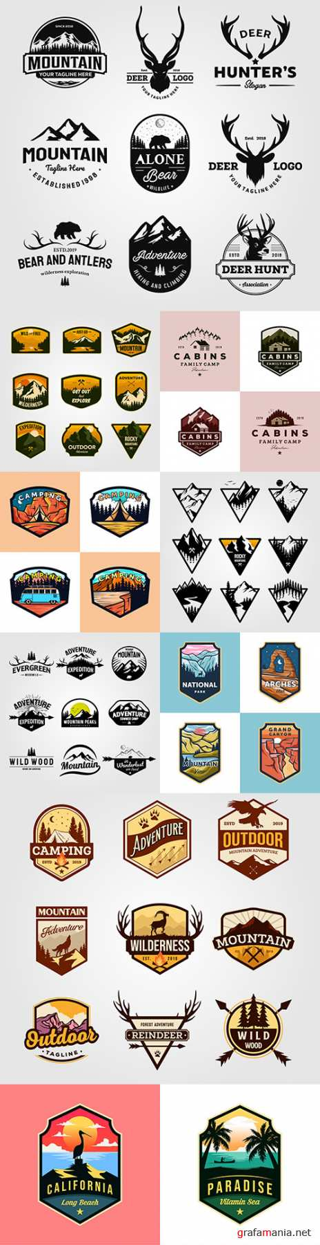 Camping and hunting emblems vintage design