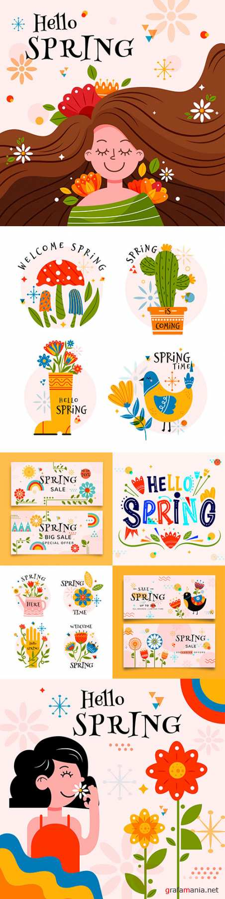 Hello spring colorful flat sales banners and emblems