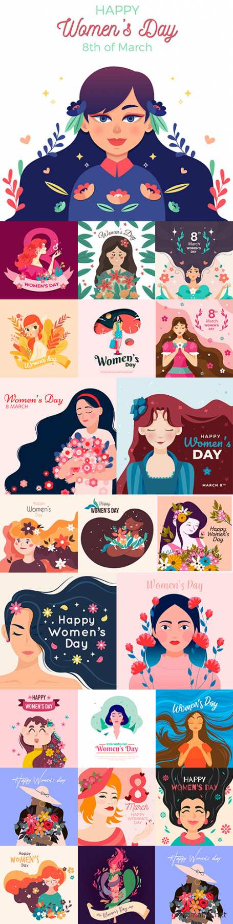 March 8 and Women's Day illustration flat big collection